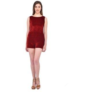Rigo Maroon Velvet Self Design Jumpsuits For Women