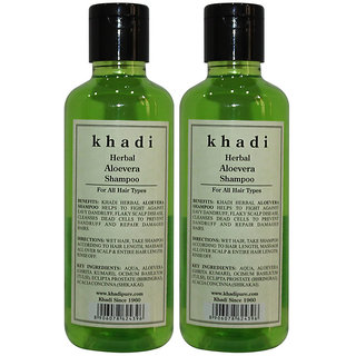 Khadi Herbal Aloevera Shampoo - 210ml (Set of 2)