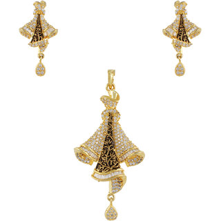 Gulshan Jewellers Latest Designer Gold Plated American Diamond Pendant Earring Set