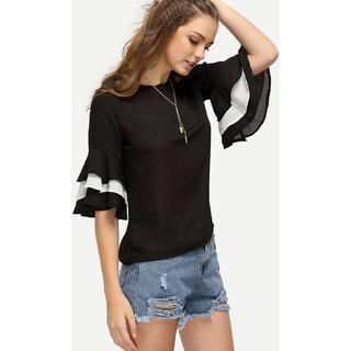 Raabta Fashion Black Plain Boat Neck Basic Top