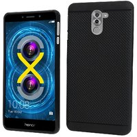 RSC POWER+ 360 Protection Premium Dotted Designed Soft Rubberised Back Case Cover For  Honor 6X -Black