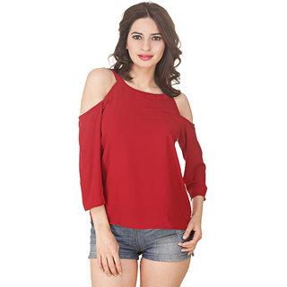 9362ad9e8a151 Buy Jollify Cut shoulder Red colour fashionable Girls   Women s Top ...