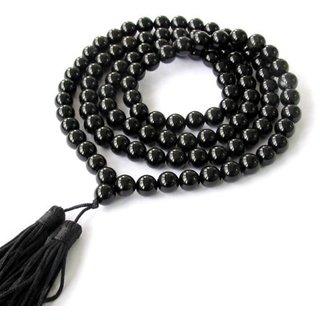 SAHAYA Black Agate Hakik Mala Natural Beads Evil eye Protection For Unisex Wearing And Kali Bhairav Mahakal Japa