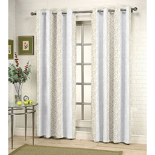 Kalaa Synthetic Cream Window Curtain (Pack of 2)