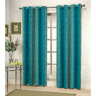 Kalaa Synthetic Blue Window Curtain (Pack of 4)