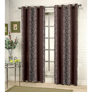 Kalaa Synthetic Brown Window Curtain (Pack of 4)