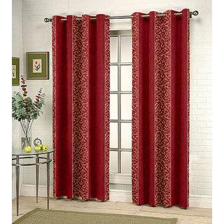 Kalaa Synthetic Maroon Window Curtain (Pack of 4)