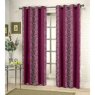 Kalaa Synthetic Purple Window Curtain (Pack of 8)
