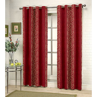 Kalaa Synthetic Maroon Window Curtain (Pack of 8)