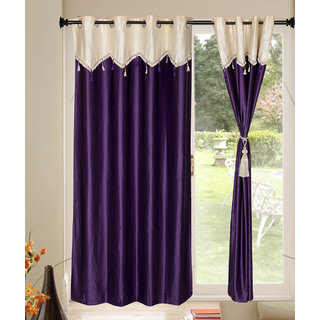 Kalaa Designer Crush Blue Window Curtain With Skalap (Pack of 8)