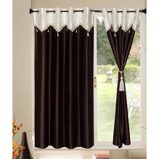 Kalaa Designer Crush Brown Window Curtain With Skalap  (Pack of 8)