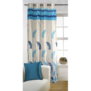 Kalaa Polycotton Designer Blue Single Window Curtain