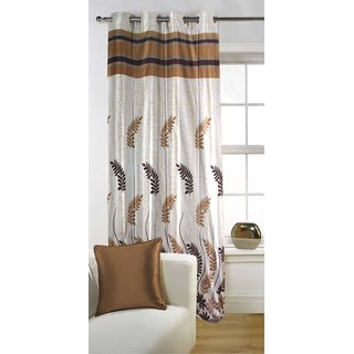 Kalaa Polycotton Designer Brown Single Window Curtain