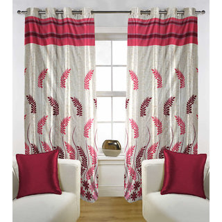 Kalaa Polycotton Designer Red Window Curtain (Pack of 2)