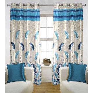 Kalaa Polycotton Designer Blue  Window Curtain (Pack of 2)