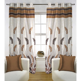 Kalaa Polycotton Designer Brown Window Curtain (Pack of 2)