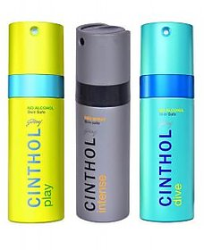 Cinthol Deo Spray-Instense+Energy+Play Combo set (set of 3) Deodrant Combo fo 150Ml Each