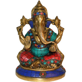 Lord Ganpati Religious Sculpture with stone turquoise work for Temple By Aakrati