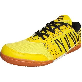 Port Men's Spider Yellow Pu Badminton Shoes