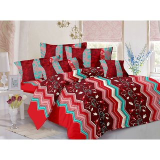 Welhouse Cotton Floral Maroon Double Bedsheet with 2 Contrast Pillow Covers(CLD-003)