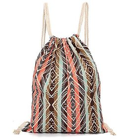 Aeoss Canvas Aztec Geometric Tribal Print Drawstring Gym College School Backpack Bag (A297)