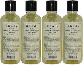 Khadi Herbal Orange  Lemongrass Face Wash - 210ml (Set of 4)