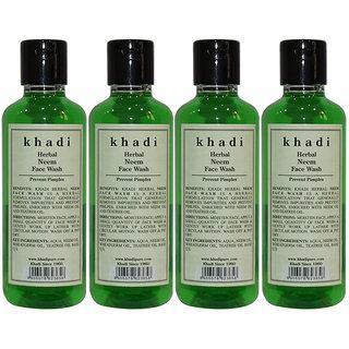 Khadi Herbal Neem Face Wash - 210ml (Set of 4)