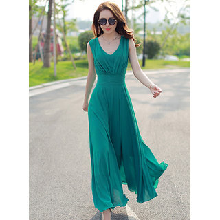 Westchic V NECK GREEN CONNECTION Long Dress