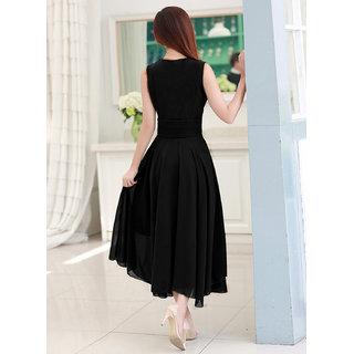 Image result for Westchic V NECK BLACK CONNECTION Long Dress