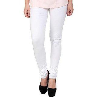 Women's Cotton Blended Churidar Leggings - White