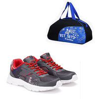 Lotto Portlane Subli Grey  Red  Running Sport Shoes With Gym Bag AR4784-262