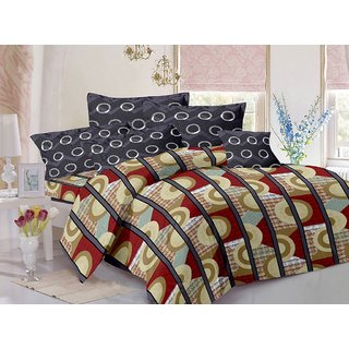 Welhouse Cotton Stripes Brown Double Bedsheet with 2 Contrast Pillow Covers(CLD-007)