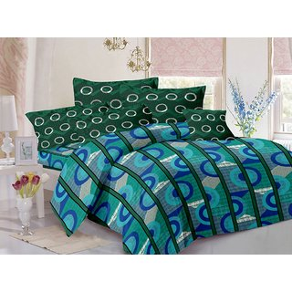 Welhouse Cotton Stripes Blue Double Bedsheet with 2 Contrast Pillow Covers(CLD-008)