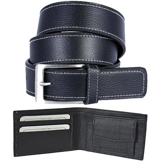 Ws deal Leatherite black needle pin point buckle belt with black bifold synthetic Leatherite wallet. (Synthetic leather/Rexine)
