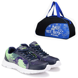Lotto Portlane Subli Navy  Green Running Sport Shoes With Gym Bag AR4784-474