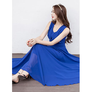 Westchic V NECK ROYAL BLUE CONNECTION Long Dress