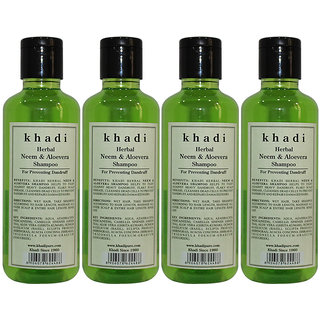 Khadi Herbal Neem  Aloevera Shampoo - 210ml (Set of 4)