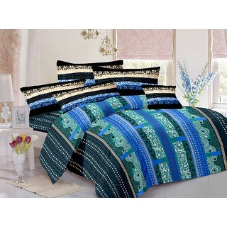 Welhouse Cotton Traditional Blue Double Bedsheet with 2 Contrast Pillow Covers(CLD-014)