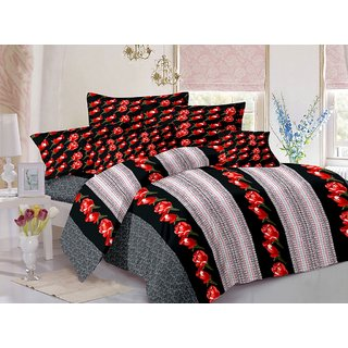 Welhouse Cotton Floral Red Double Bedsheet with 2 Contrast Pillow Covers(CLD-015)