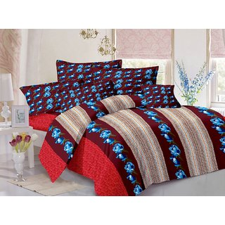 Welhouse Cotton Floral Blue Double Bedsheet with 2 Contrast Pillow Covers(CLD-016)