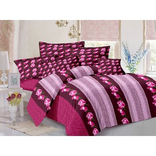 Welhouse Cotton Floral Pink Double Bedsheet with 2 Contrast Pillow Covers(CLD-017)