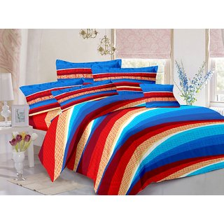 Welhouse Cotton Stripes Multi Double Bedsheet with 2 Contrast Pillow Covers(CLD-018)