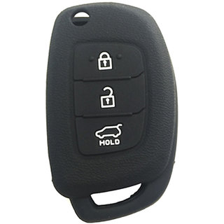 Silicone Key Cover Fit For Hyundai New i20/New Verna/Xcent 3 Button Flip Key Models 2013 Onwards (Black)