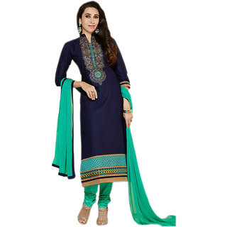 eb7d3e8a004 Omstar Fashion Blue Embroidered Chanderi salwar suit dress material ( Unstitched)