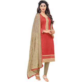 081109a1741 Omstar Fashion Red Embroidered Chanderi salwar suit dress material ( Unstitched). Rs 859Rs 999