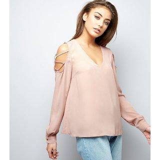 Fabrange Pink V Neck Lattice Trim Cold Shoulder Top
