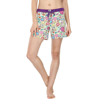 Nuteez Purple Cotton Blend Printed Night Shorts