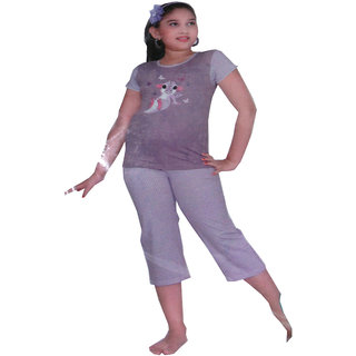 revin purple  with white  and pink  colour derex dinasour  pure 100cotton branded pyjama set