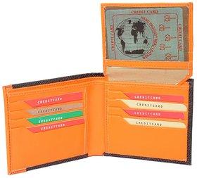 Radon Men's Casual Black+Orange Genuine Leather Wallet 8+ Card Slots