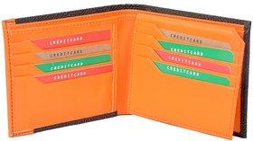 Radon Men's Casual Black+Orange PU Wallet 12+ Card Slots